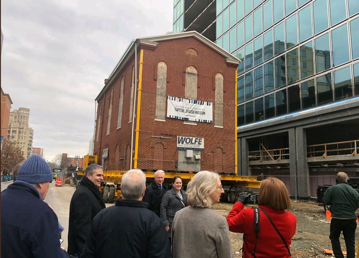 The historic building that once housed the original Adas Israel Synagogue — the oldest synagogue in the District — moved from its current storage location at the corner of 3rd and G streets Northwest, to 3rd and F streets Northwest.