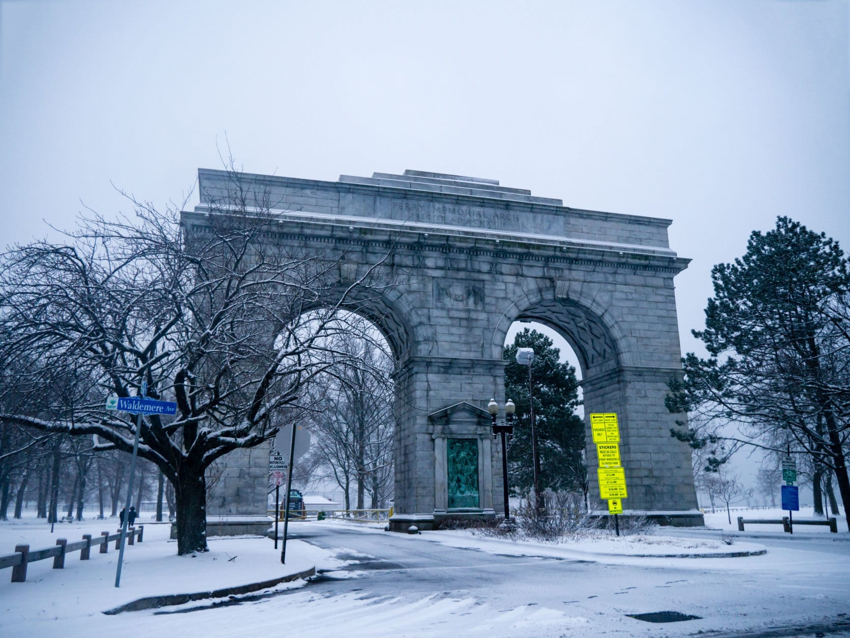 Perry Memorial Arch in Seaside Park of Bridgeport, Connecticut, USA.