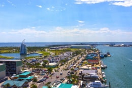 Cape Canaveral, USA. The arial view of port Canaveral from cruise ship, docked in Port Canaveral, Brevard County, Florida. (Getty Images/iStockphoto/Marina113)