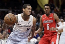 Cleveland Cavaliers' Jordan Clarkson (8) drives against the Washington Wizards in the first half of an NBA basketball game, Tuesday, Jan. 29, 2019, in Cleveland. (AP Photo/Tony Dejak)