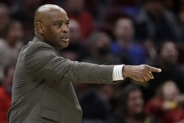 Cleveland Cavaliers coach Larry Drew yells instructions to players during the second half of the team's NBA basketball game against the Washington Wizards, Tuesday, Jan. 29, 2019, in Cleveland. The Cavaliers won 116-113. (AP Photo/Tony Dejak)