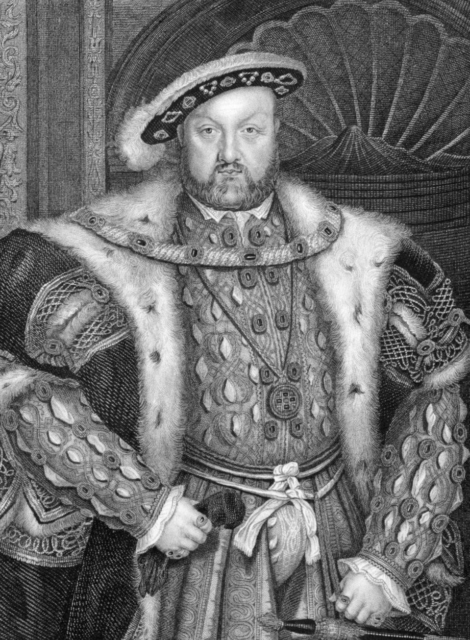 Henry VIII (1491-1547) on engraving from 1838. King of England during 1509-1547. Engraved by W.T.Fry after a painting by Holbein.