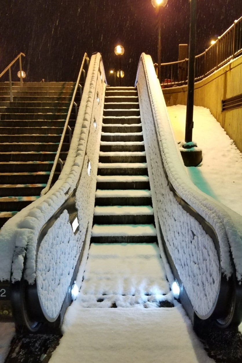 A snow-covered escalator at the College Park Metro station on Sunday morning. (Courtesy Paul Milligan)