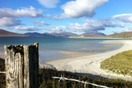 This October 2013 photo shows the startling white-sand beaches on the west coast of the Outer Hebrides in Scotland. The beaches are an easy draw for travelers, though getting into the cold water above your ankles in cooler weather takes some courage _ and a squeal. (AP Photo/Cara Anna)