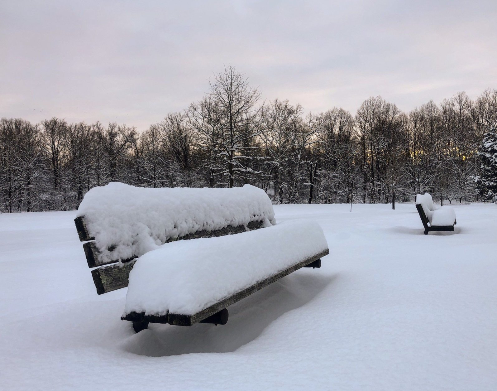 The weekend storm gave way to a serene wintry morning in this Montgomery County park. Most of D.C.'s northwest suburbs received over 10 inches of snow, with some totals near Germantown and Gaithersburg over one foot. (WTOP/Melissa Howell)