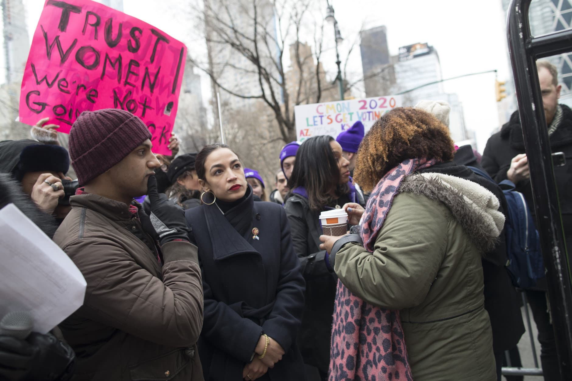 Rep. Alexandria Ocasio-Cortez, D-N.Y., waits backstage during the Women's March Alliance, Saturday, Jan. 19, 2019, in New York. (AP Photo/Mary Altaffer)