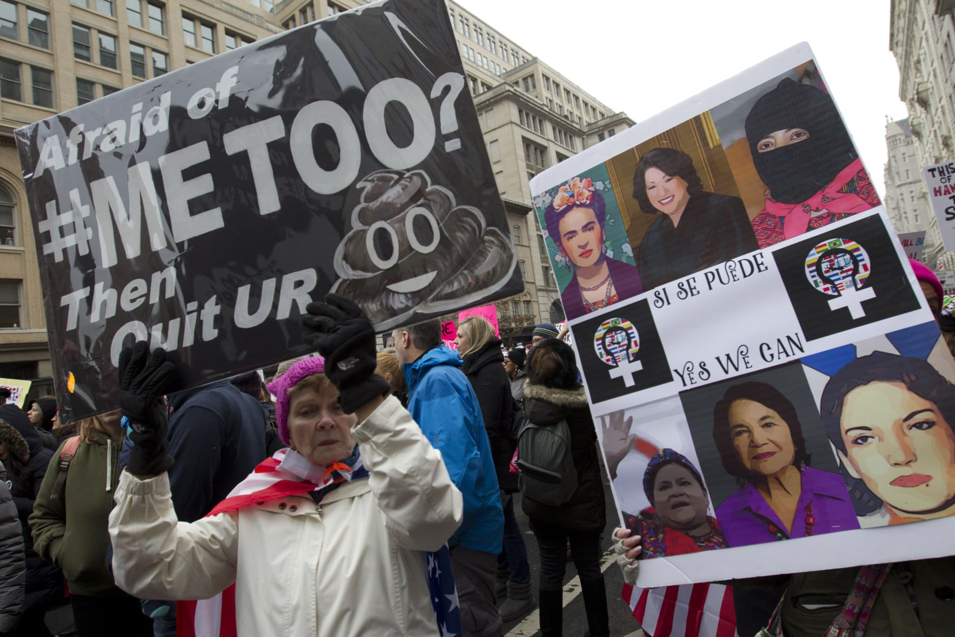 Demonstrators hold signs during the Women's March in Washington on Saturday, Jan. 19, 2019. (AP Photo/Jose Luis Magana)