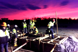 Preparing for Early Morning Placement of Maintenance of Way Platform (Courtesy/ Metropolitan Washington Airports Authority)
