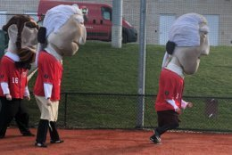 Winners will race during the middle of the fourth inning of every Nationals game, all while balancing heavy presidential heads. (WTOP/Melissa Howell)