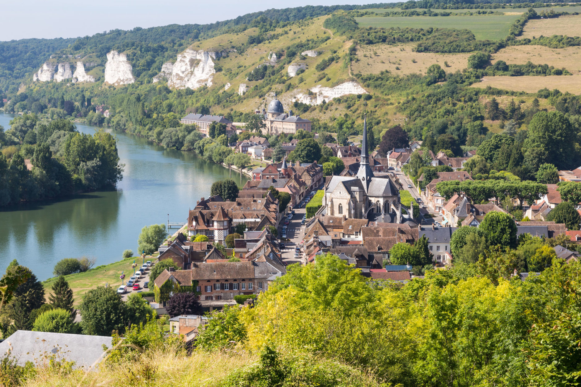 View on Les Andelys next to the river Seine seen from castle gaillard in the region Normandie, France. (Getty Images/iStockphoto/kyrien)