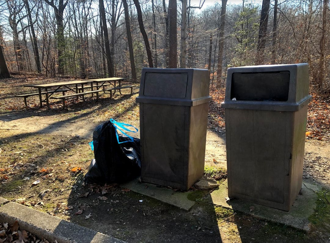 The National Park Service announced it will start trash pickup again at its parks. (WTOP/Mike Murillo)