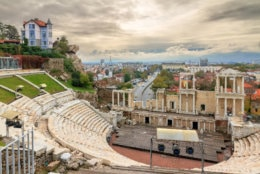 Beautiful cityscape of Plovdiv, Bulgaria, in the medieval part of the city called Old Town, with the ancient Roman theatre. (Getty Images/iStockphoto/dennisvdw)