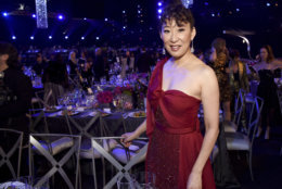 Sandra Oh attends the 25th annual Screen Actors Guild Awards at the Shrine Auditorium & Expo Hall on Sunday, Jan. 27, 2019, in Los Angeles. (Photo by Richard Shotwell/Invision/AP)