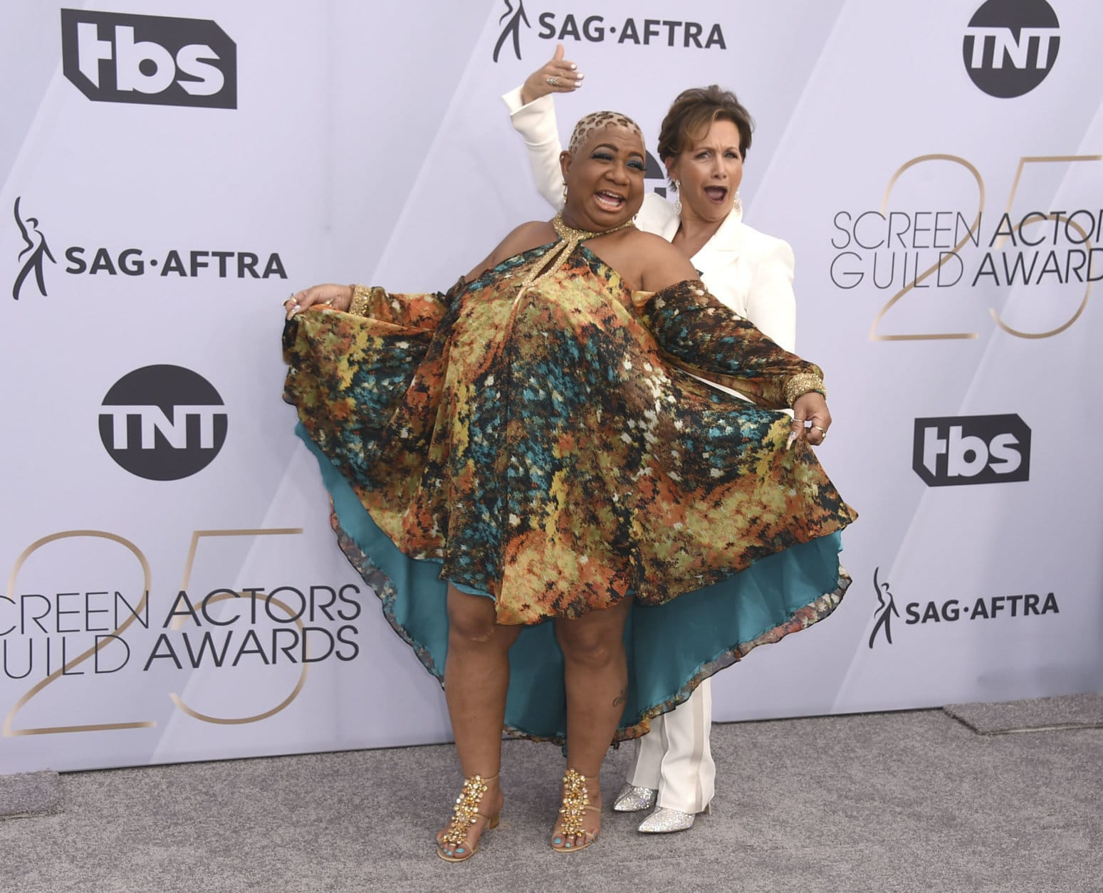 Luenell, left, and SAG-AFTRA President Gabrielle Carteris arrive at the 25th annual Screen Actors Guild Awards at the Shrine Auditorium & Expo Hall on Sunday, Jan. 27, 2019, in Los Angeles. (Photo by Jordan Strauss/Invision/AP)