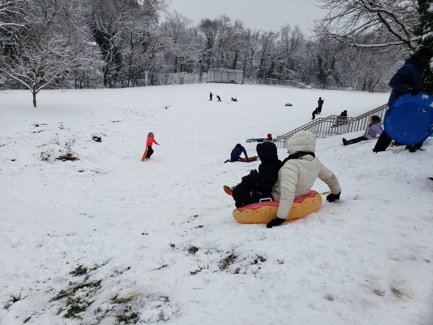 Families sled at Angel Park in Alexandria, Virginia on Jan. 13, 2019. (WTOP/Colleen Kelleher)