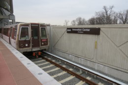 A Silver Line test train at the Innovation Center station in Fairfax County. (Courtesy Metropolitan Washington Airports Authority)