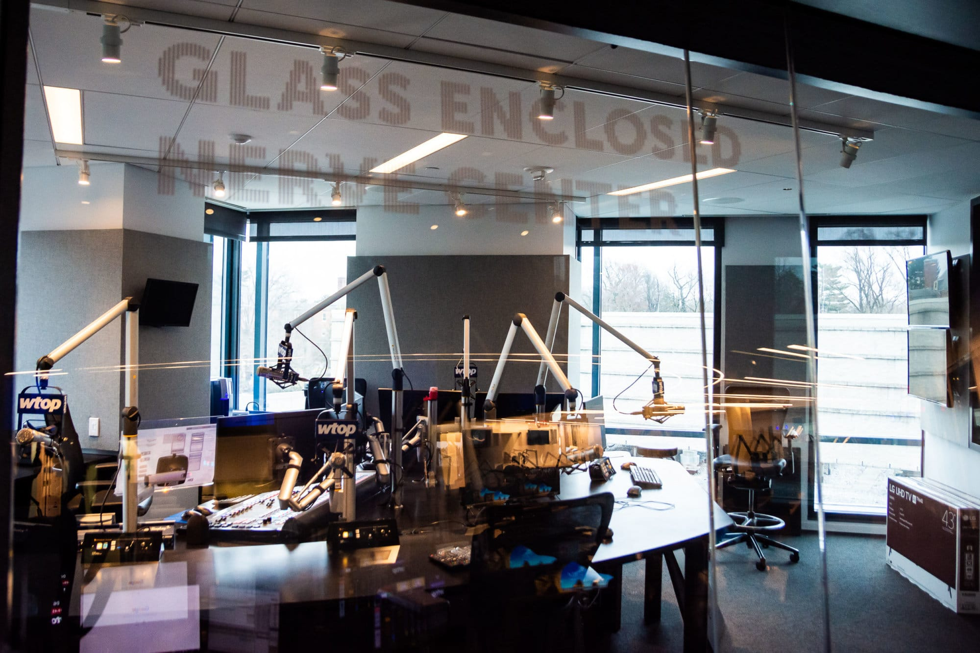 Dedicated WTOP listeners will likely be familiar with the fabled Glass-Enclosed Nerve Center (GENC), the translucent battleship bridge from which our anchors continously broadcast the news to millions in the D.C. area. The brand-new GENC at 5425 Wisconsin Ave. comes with more space, additional anchor positions, a private coffee machine, and, perhaps most fittingly: More glass. (WTOP/Alejandro Alvarez)