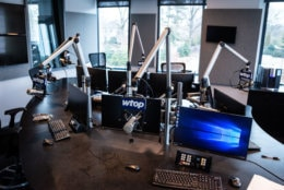 The new Glass-Enclosed Nerve Center on Wisconsin Avenue took over from WTOP's old building on Idaho Avenue, which hosted the broadcast for three decades. More naturally lit and modernized, the new office space is surrounded by the restaurants, grocery stores, and shopping centers of Mazza Gallerie and Wisonsin Place on the Maryland side of Chevy Chase. (WTOP/Alejandro Alvarez)