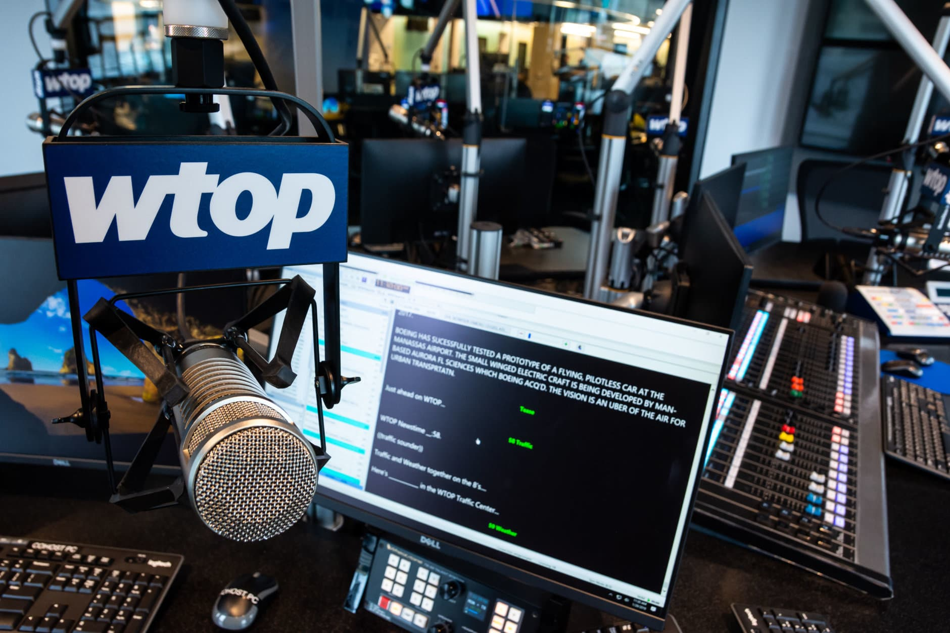 An co-host's station in the new Glass-Enclosed Nerve Center. Pictured is WTOP's news management software, Burli, with which radio editors feed scripts, audio clips and news reports to the anchors throughout the station's hour-long lineup. (WTOP/Alejandro Alvarez)