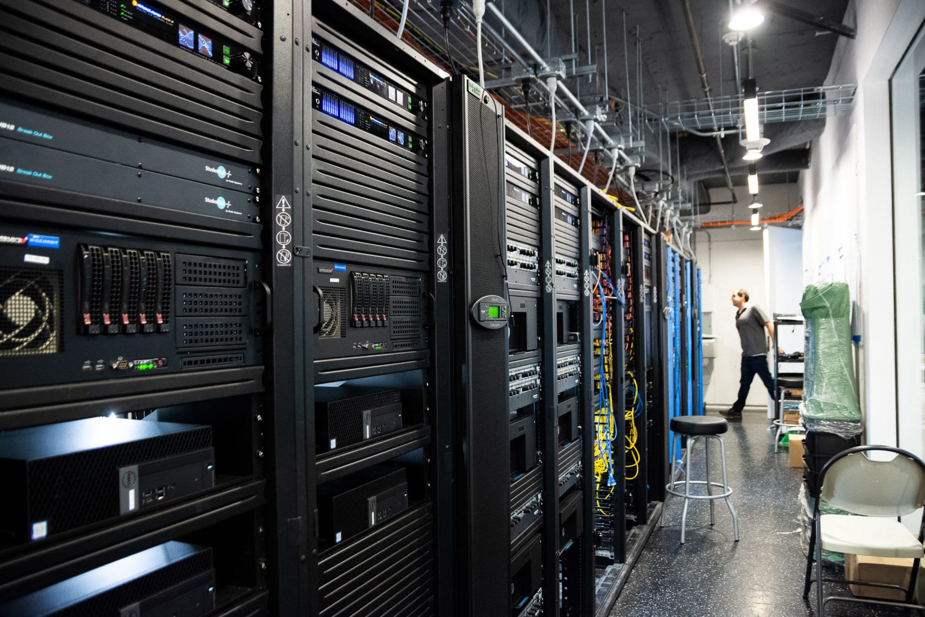 A new building means a new server room. At the Wisconsin Avenue building, even the servers will be housed on the same floor as WTOP and its sister stations. (WTOP/Alejandro Alvarez)