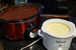 Chili and cheese dip stay warm in the crockpot. (WTOP/Brandon Millman)