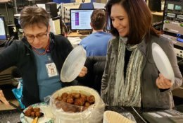 Digital editor Colleen Kelleher and morning anchor Joan Jones are ready to dig in. (WTOP/Brandon Millman)
