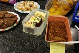 Cookies, cake and lemon bars at the football table. (WTOP/Brandon Millman)