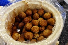 Digital editor Colleen Kelleher brought in meatballs. They were a hit. (WTOP/Brandon Millman)