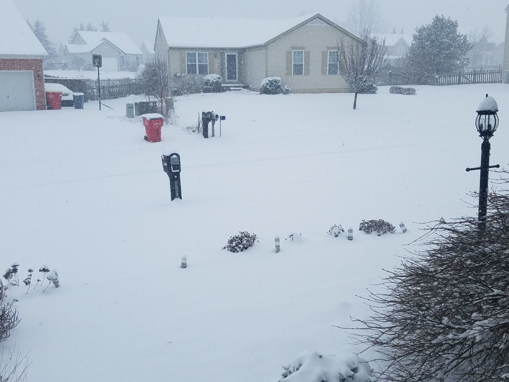 Snow completely blankets a neighborhood in Hagerstown, Maryland. (Courtesy Kirk Marek)