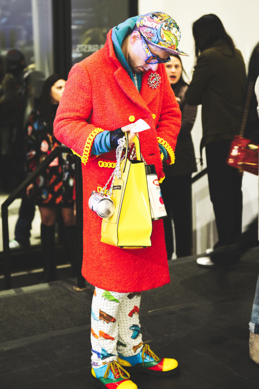 A guest arrives for a show at Spring Studios, NYC