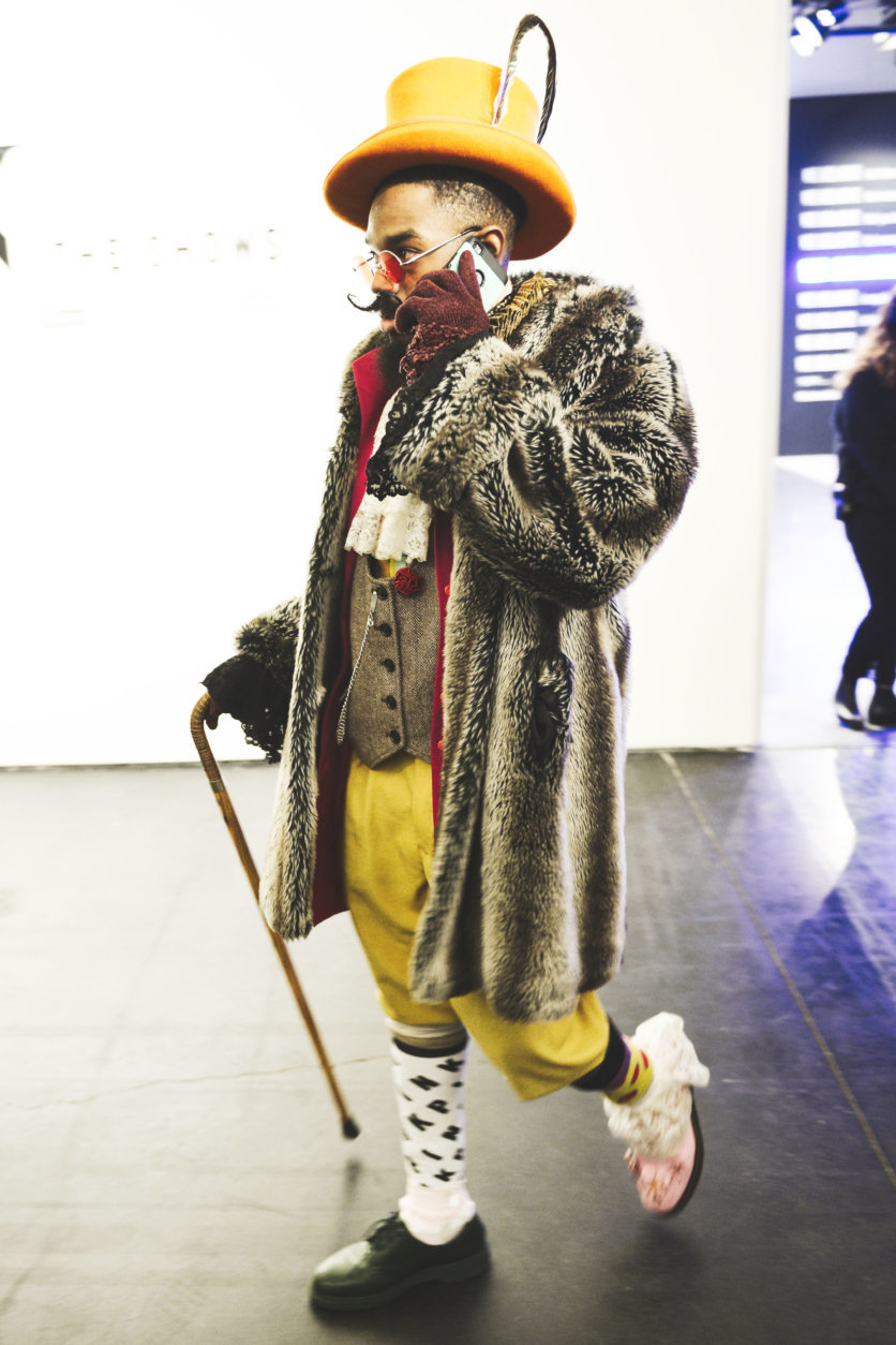 A guest arrives at Spring Studios, NYC