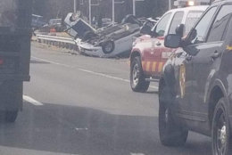The crash involved overturned vehicles. (Courtesy Mishell Dickson)