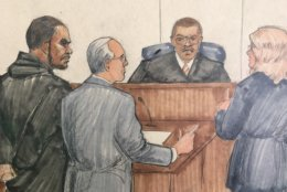 ADDS NAMES OF LAWYERS - In this courtroom sketch, R&B singer R. Kelly, attorney Steve Greenberg and prosecutor Jennifer Gonzalez appears before Cook County Judge John Fitzgerald Lyke Jr. at the Leighton Criminal Courthouse, Saturday, Feb. 23, 2019 in Chicago.  The judge has set Kelly's bond at $1 million saying that the amount equals $250,000 for each of the four people he's charged with sexually abusing. (AP Photo/Tom Gianni)