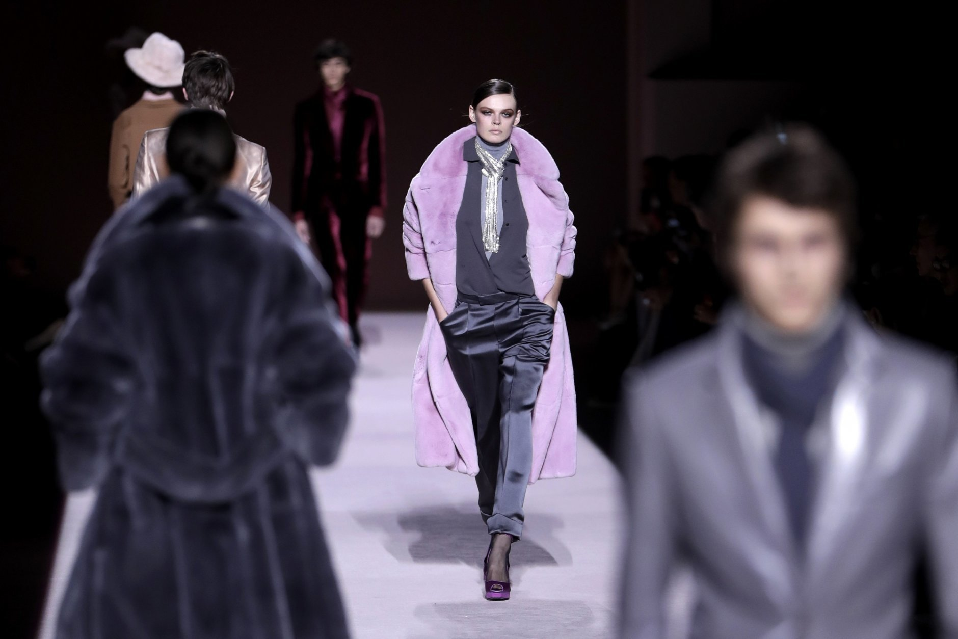 Fashion from the Tom Ford collection is modeled during Fashion Week, Wednesday, Feb. 6, 2019, in New York. (AP Photo/Julio Cortez)