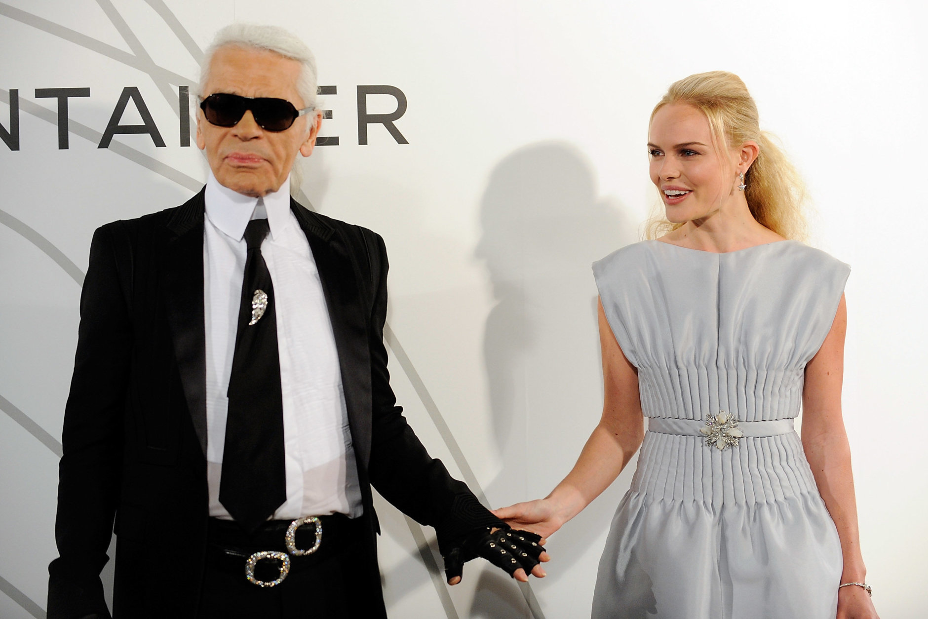 Chanel designer Karl Lagerfeld and actress Kate Bosworth attend the opening party for the mobile Chanel Contemporary Art Container in Central Park. on Tuesday, Oct. 21, 2008 in New York. (AP Photo/Evan Agostini)