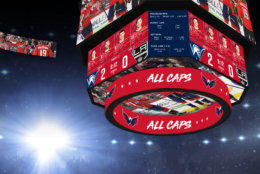 The new center-hung scoreboard will have more than 7,000 square feet of LED display and eight display areas for live game video, real-time stats, scores and updates. (Courtesy Monumental Sports and Entertainment)