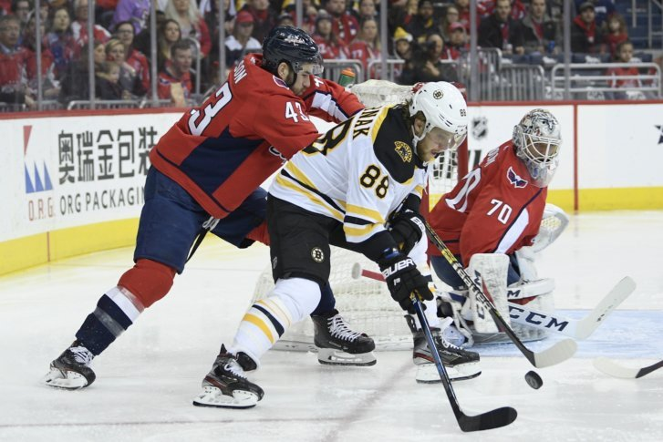 Boston Bruins right wing David Pastrnak (88) battles for the puck against  Washington Capitals right wing Tom Wilson (43) as Capitals goaltender  Braden ... b27c42587be