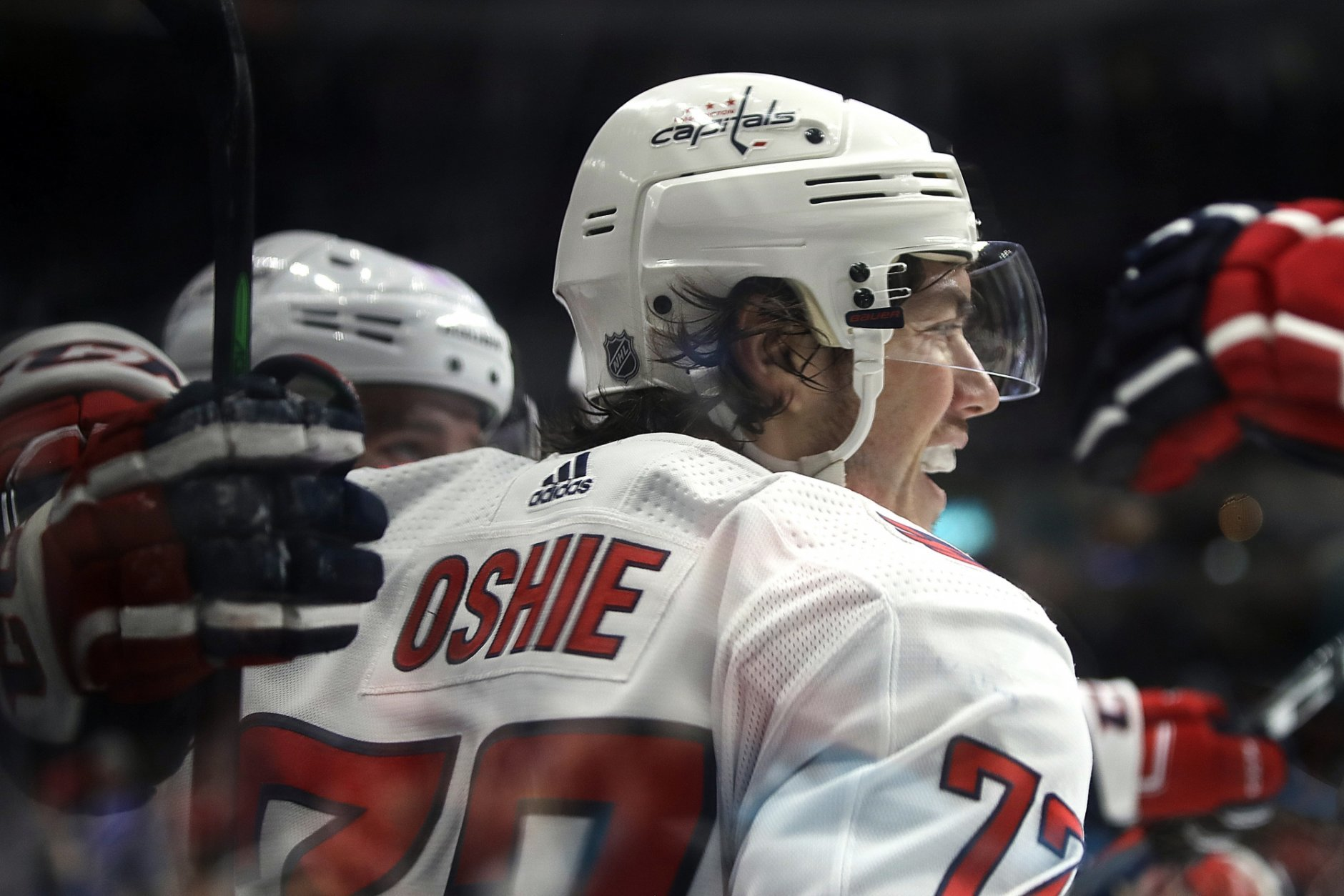 Washington Capitals' T.J. Oshie celebrates after scoring a goal against the San Jose Sharks in the second period of an NHL hockey game Thursday, Feb. 14, 2019, in San Jose, Calif. (AP Photo/Ben Margot)