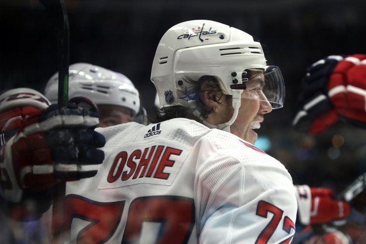 c44cc365a84 Washington Capitals  T.J. Oshie celebrates after scoring a goal against the San  Jose Sharks in the second period of an NHL hockey game Thursday