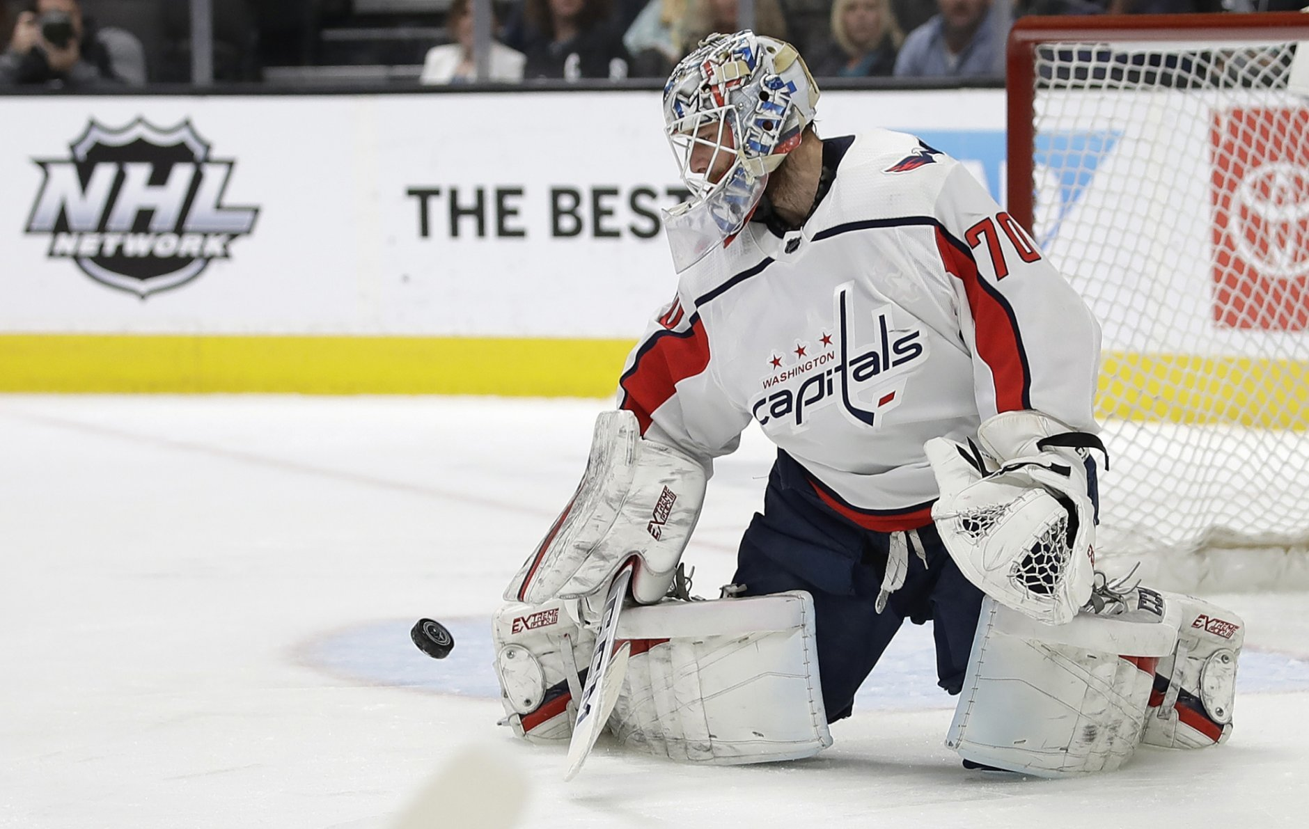 Washington Capitals goalie Braden Holtby blocks a shot from the San Jose Sharks in the first period of an NHL hockey game Thursday, Feb. 14, 2019, in San Jose, Calif. (AP Photo/Ben Margot)