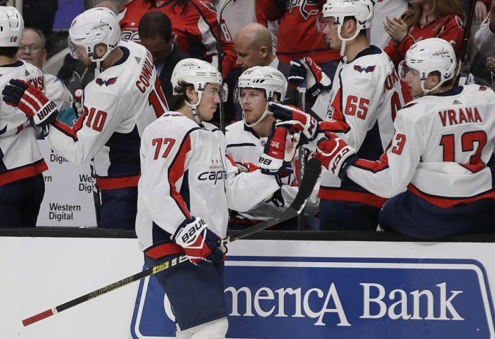 Washington Capitals  T.J. Oshie (77) is congratulated after scoring a goal  against the San Jose Sharks in the first period of an NHL hockey game  Thursday 53f1dc8ee40