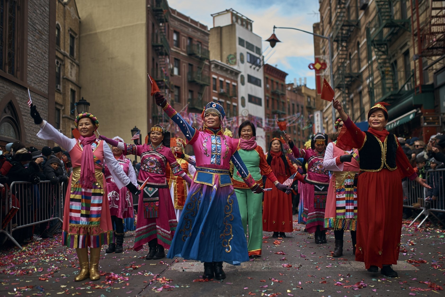 Dancers perform during the Chinese Lunar New Year parade in Chinatown in New York, Sunday, Feb. 17, 2019. (AP Photo/Andres Kudacki)