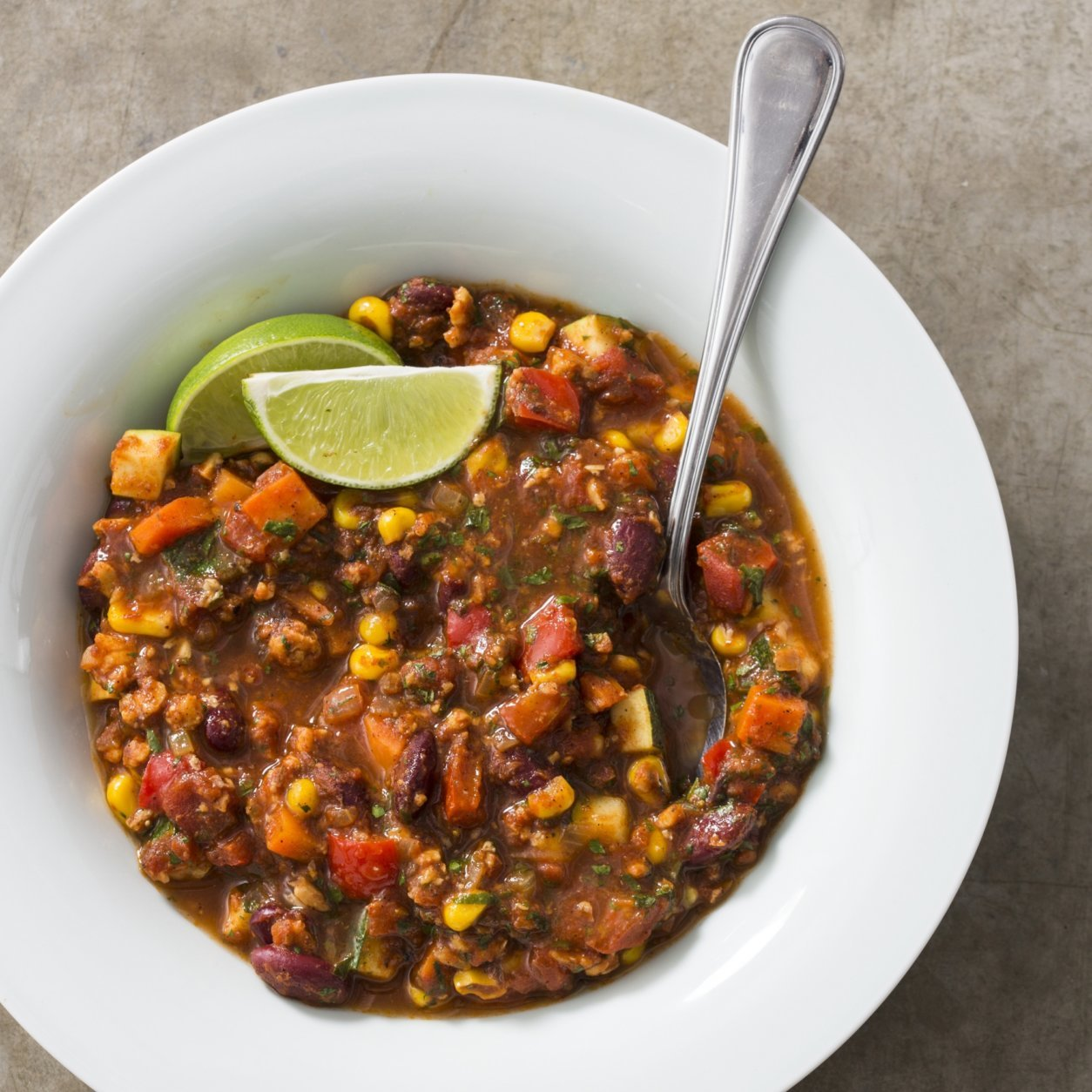 "This undated photo provided by America's Test Kitchen in February 2019 shows Vegetarian Chili in Brookline, Mass. This recipe appears in ""The Complete Diabetes Cookbook."" (Joe Keller/America's Test Kitchen via AP)"