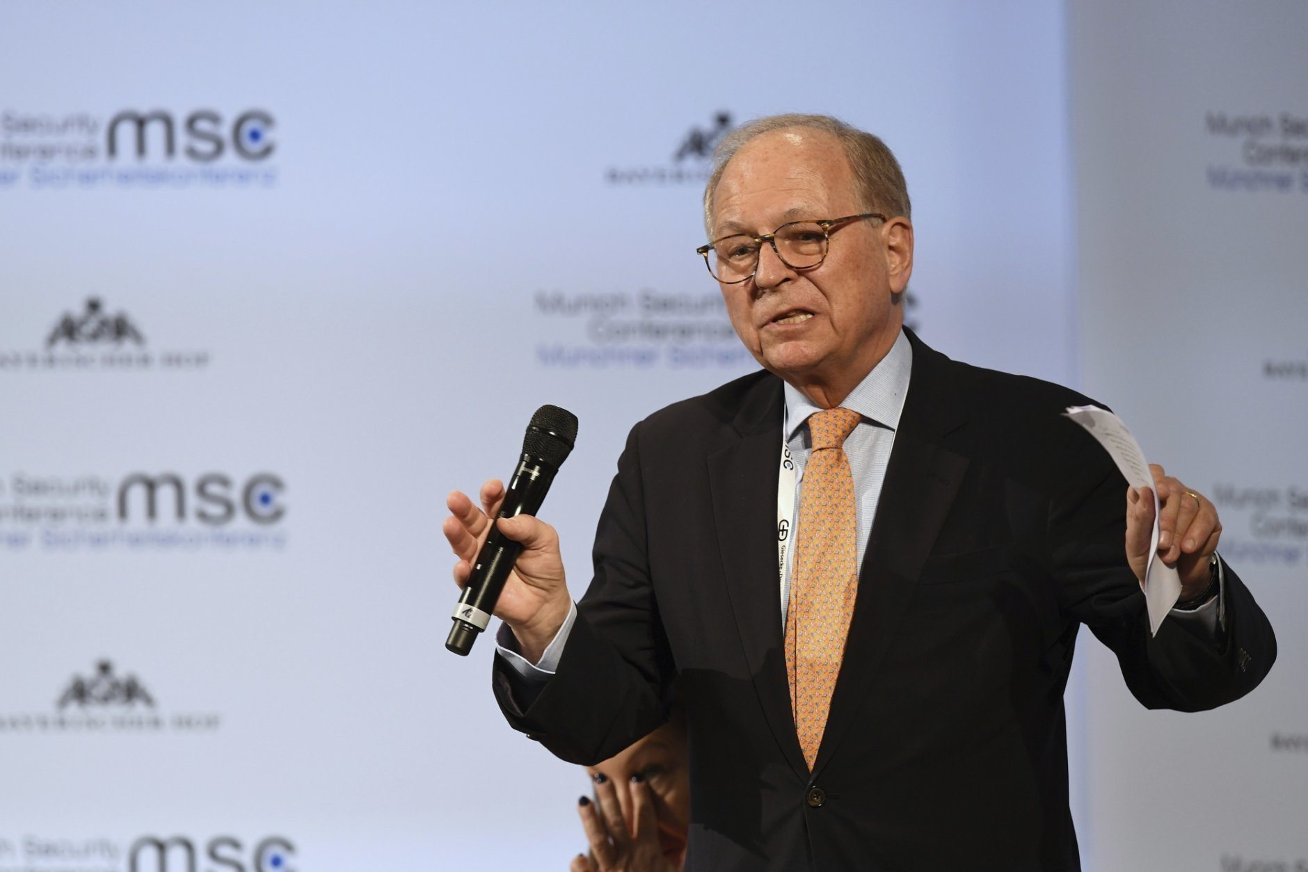 Wolfgang Ischinger, chairman of the Munich Security Conference during his closing speech at the Munich Security Conference in Munich, Germany, Sunday, Feb. 17, 2019. (AP Photo/Kerstin Joensson)