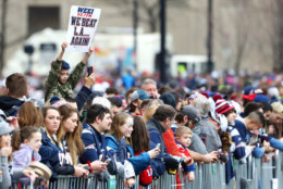 BOSTON, MASSACHUSETTS - FEBRUARY 05: Fans line Cambridge street ahead of the New England Patriots Victory Parade on February 05, 2019 in Boston, Massachusetts. (Photo by Maddie Meyer/Getty Images)