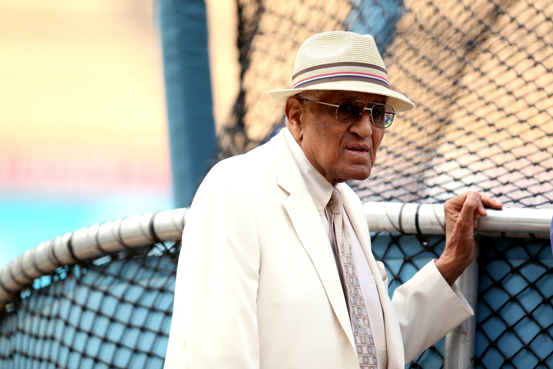 LOS ANGELES, CA - AUGUST 30:  Dodgers Hall of Fame pitcher Don Newcombe watches batting practrice before the game between the Los Angeles Dodgers and the Arizona Diamondbacks on August 30, 2012 at Dodger Stadium in Los Angeles, California.  (Photo by Stephen Dunn/Getty Images)