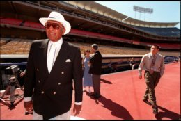 """371617 03: Former Dodger Don Newcome was on-hand to unveil """"The legends of Baseball Stamps"""" at Dodgers Stadium, in Los Angeles, Ca., June 26th, 2000. (Photo by Dan Callister/ Newsmakers)"""
