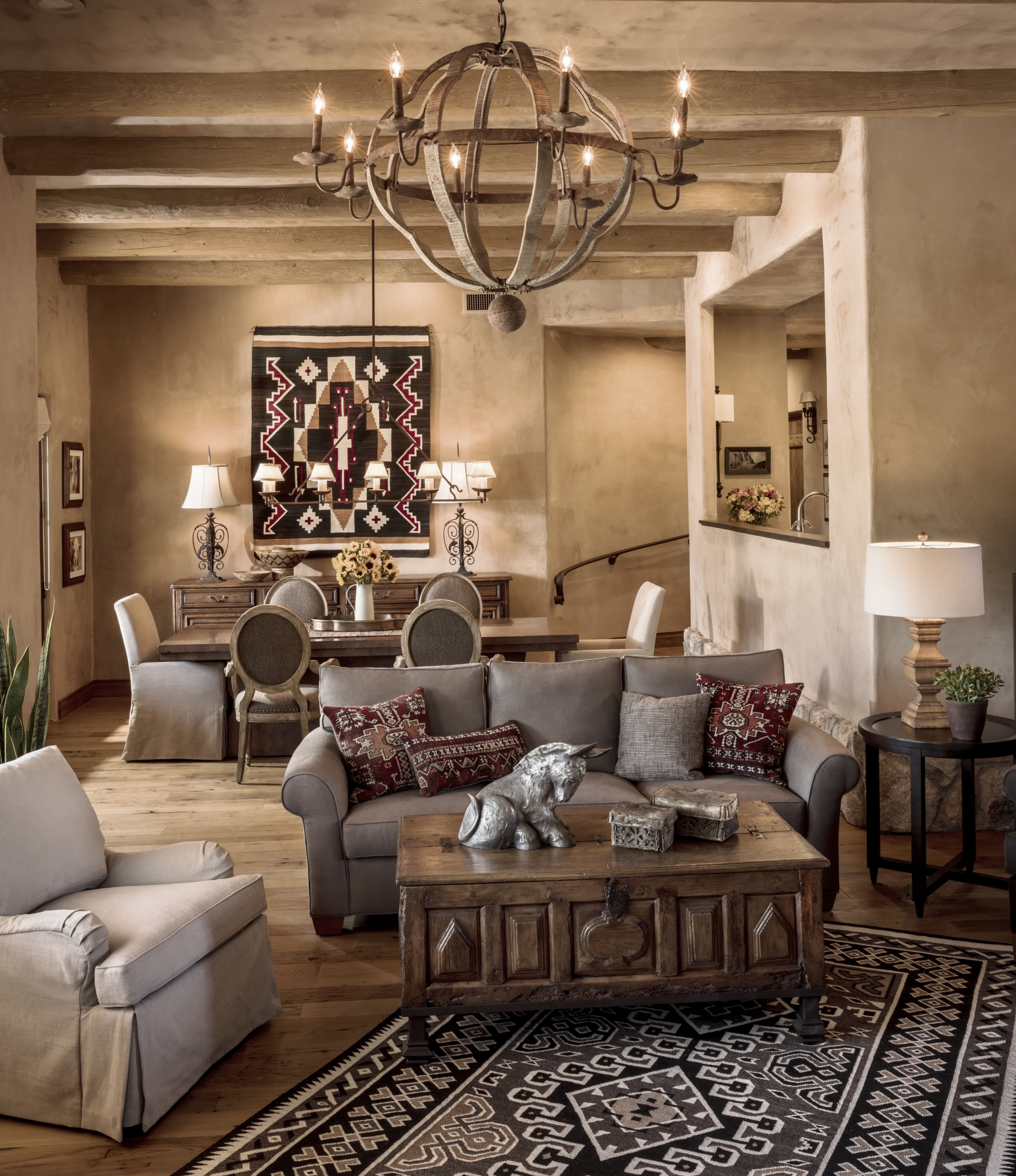 A Rustic Lodge Style Living Room Makeover: Warm And Casual Southwest Style Is Hot In Decor