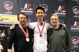 DCFC Head Coach Janusz Smolenski, Justin Haddad, and proud father Robert Haddad celebrate Justin's National Championship title. (Courtesy D.C. Fencer's Club)
