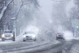 Drivers make their way through dangerous conditions in D.C. (WTOP/Dave Dildine)